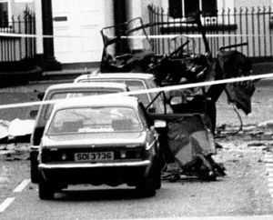 The aftermath of the Lisburn 'fun-run bombing' in which six soldiers died